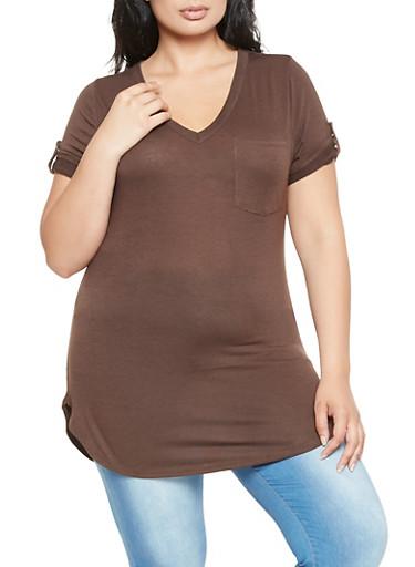 Plus Size Tabbed Sleeve Tee,BROWN,large