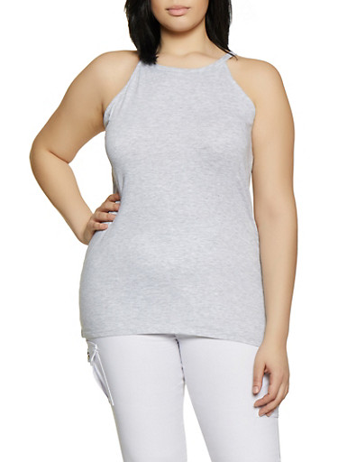 Plus Size High Neck Cami,GRAY,large