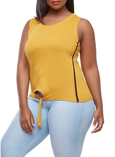 Plus Size Side Striped Tie Front Tank Top,MUSTARD,large