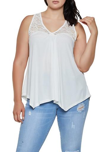 Plus Size Lace Yoke Sleeveless Top | 0916054269533,WHITE,large