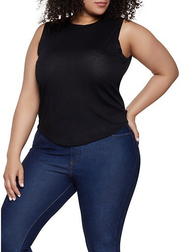 Plus Size High Low Muscle Tank Top,BLACK,large