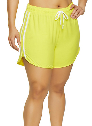Plus Size Soft Knit Dolphin Shorts,YELLOW,large