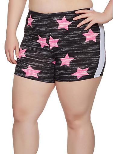Plus Size Star Print Bike Shorts,BLACK,large