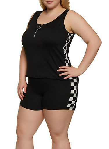 Plus Size Checkered Detail Tank Top,BLACK,large