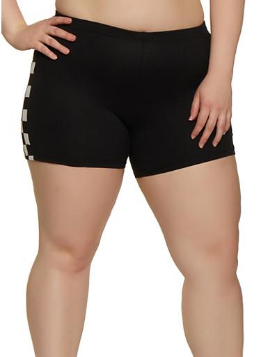 Plus Size Checkered Detail Bike Shorts,BLACK,large
