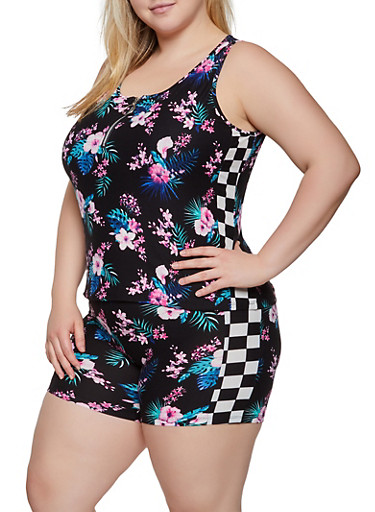 Plus Size Floral Checkered Trim Tank Top,BLACK,large