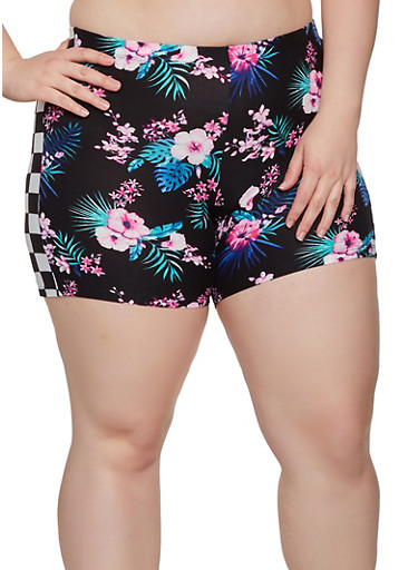 Plus Size Floral Checkered Trim Bike Shorts,BLACK,large