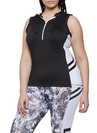 Plus Size Zip Neck Active Tank Top,BLACK/WHITE,large