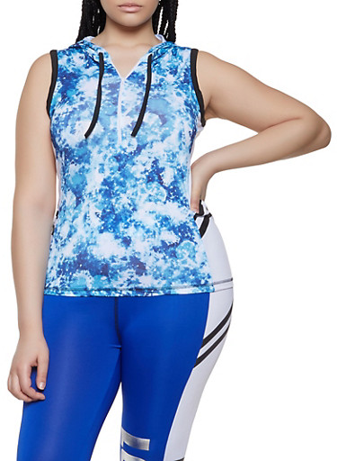Plus Size Zip Neck Active Tank Top,BLUE,large