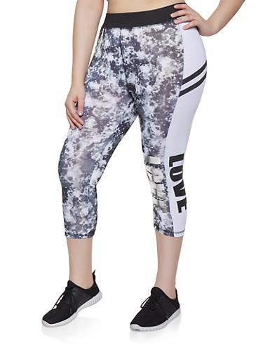 Plus Size Cropped Love Leggings,BLACK/WHITE,large