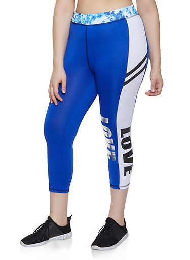 Plus Size Cropped Love Leggings,BLUE,large