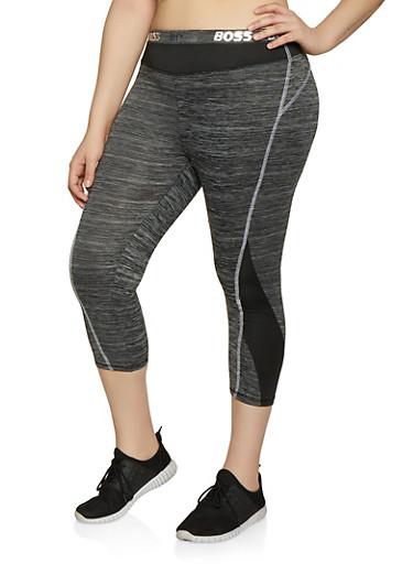Plus Size Boss Foil Graphic Active Leggings,CHARCOAL,large