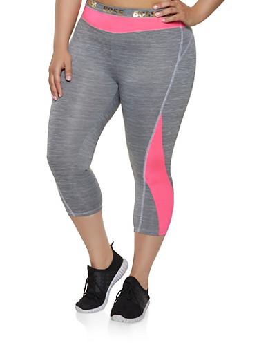 Plus Size Boss Foil Graphic Active Leggings,NEON PINK,large