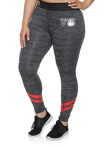 Plus Size Graphic Stripe Detail Active Leggings,CHARCOAL,large