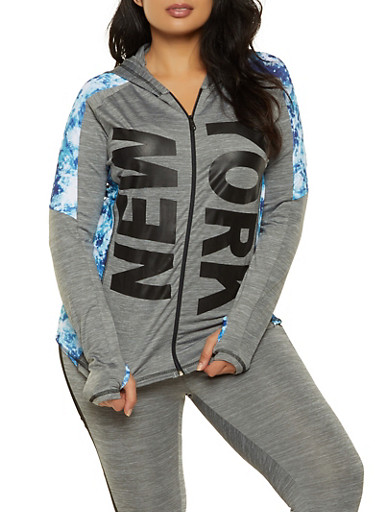 Plus Size New York Tie Dye Trim Hooded Top,BLUE,large