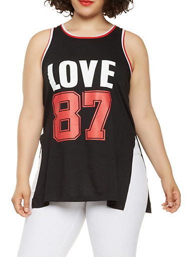 Plus Size Love Graphic Tank Top,BLACK,large