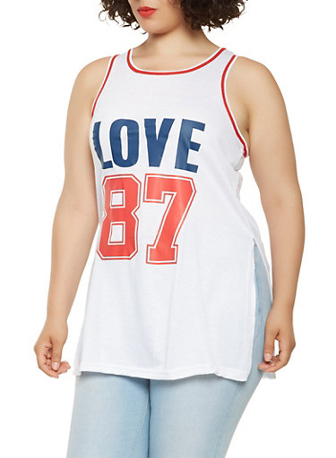 Plus Size Love Graphic Tank Top,WHITE,large