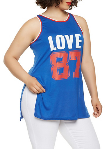 Plus Size Love Graphic Tank Top,NAVY,large