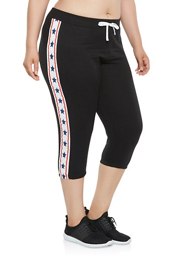 Plus Size Americana Star Graphic Capri Sweatpants,BLACK,large