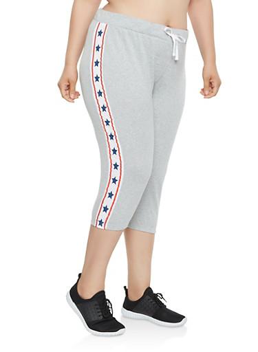 Plus Size Americana Star Graphic Capri Sweatpants,WHITE,large