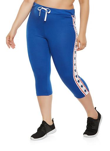 Plus Size Americana Star Graphic Capri Sweatpants,NAVY,large