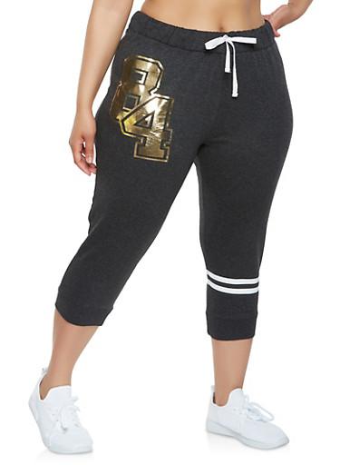 Plus Size Graphic Capri Sweatpants,CHARCOAL,large