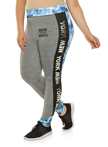 Plus Size New York Tie Dye Trim Leggings,BLUE,large