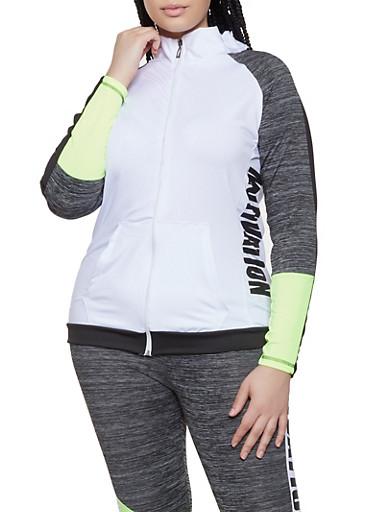 Plus Size Color Block Motivation Active Sweatshirt,LIME,large