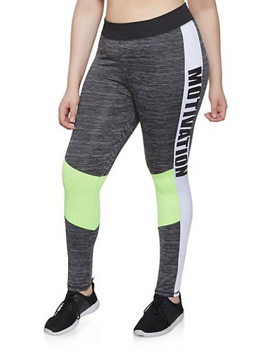 Plus Size Color Block Motivation Active Leggings,LIME,large