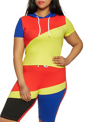Plus Size Color Block Hooded Top,RYL BLUE,large