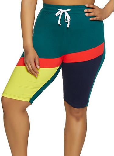 Plus Size Color Block Bermuda Shorts,NAVY,large