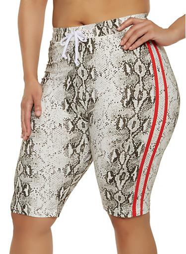 Plus Size Animal Print Bermuda Shorts,WHITE,large