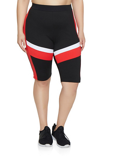 Plus Size Color Block Active Bike Shorts,BLACK,large