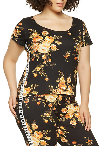 Plus Size Floral Graphic Tape Tee,BLACK,large