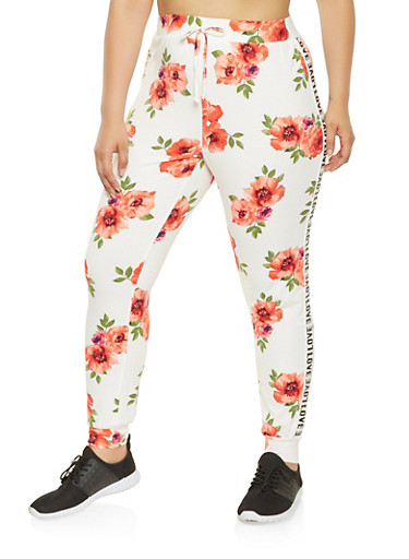 Plus Size Graphic Tape Trim Floral Joggers,IVORY,large