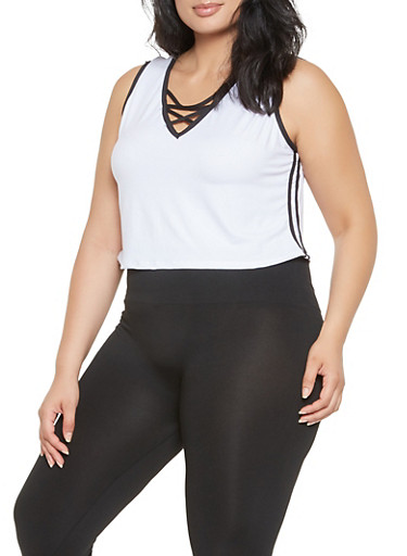 Plus Size Caged Neck Tank Top,WHITE,large