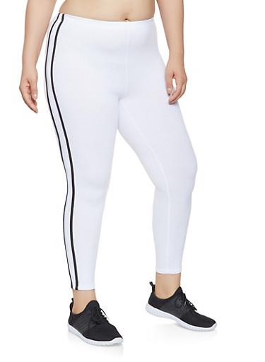 Plus Size Side Stripe Leggings,WHITE,large