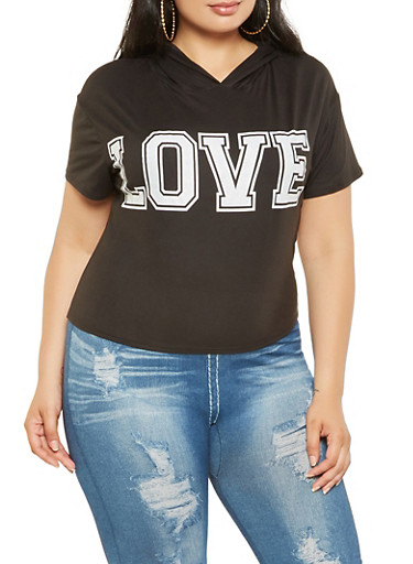 Plus Size Love Graphic Hooded Tee,BLACK,large
