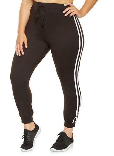 Plus Size Soft Knit Joggers,BLACK,large
