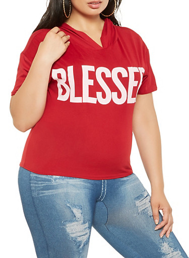 Plus Size Blessed Graphic Hooded Tee,RED,large