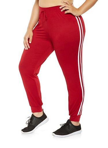 Plus Size Varsity Stripe Joggers,RED,large