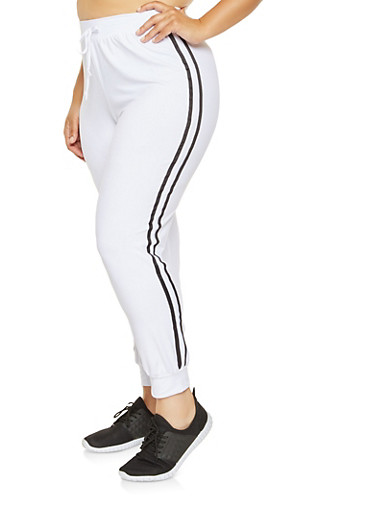 Plus Size Soft Knit Joggers,WHITE,large