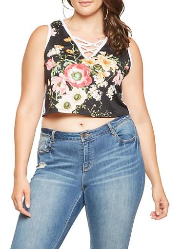 Plus Size Floral Caged Neck Crop Top,BLACK,large