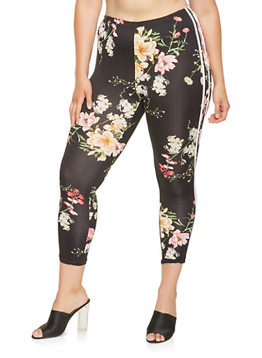 Plus Size Floral Capri Leggings,BLACK,large
