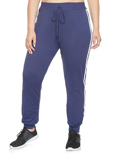 Plus Size Soft Knit Sweatpants,NAVY,large