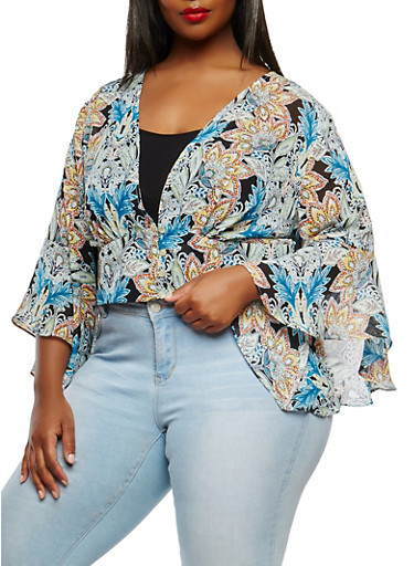 Plus Size Printed Plunging Neckline Top,GREEN,large