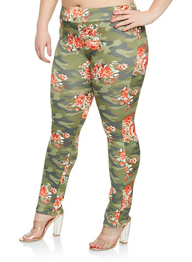 Plus Size Floral Camo Leggings,OLIVE,large