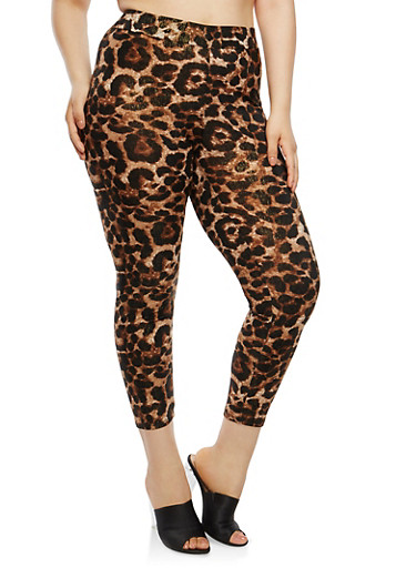 Plus Size Shimmer Knit Leopard Print Leggings,BROWN,large