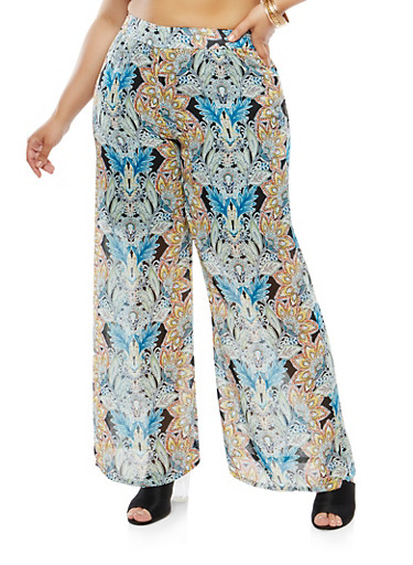 Plus Size Printed Palazzo Pants,GREEN,large