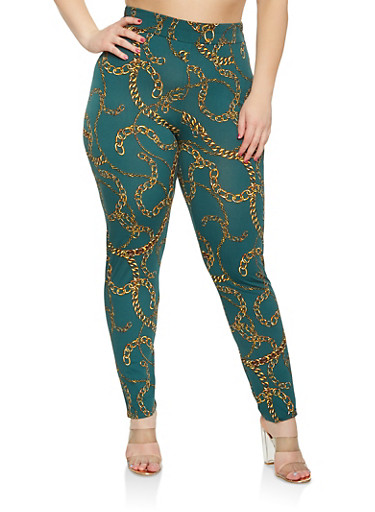Plus Size Chain Print Pants,GREEN,large